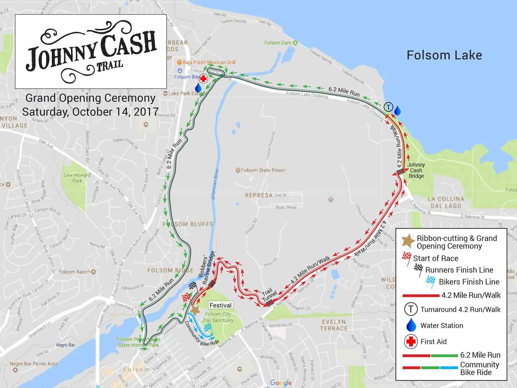 Johnny Cash Trail Fun Run Map