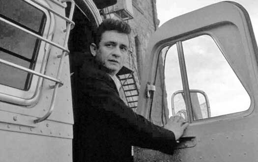 Johnny Cash Leaning Out of a Car